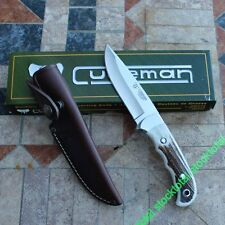 Knife cudeman leather case cover 11 cm Blade Handle Deer Horn 146-c