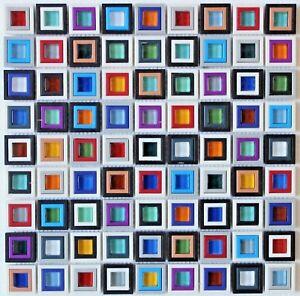 """ WINDOWS "" Square Glass Mosaic Backsplash Wall Tile Multicolored tiles wall Bar"
