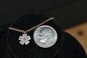 10K Yellow Gold Diamond Flower Bracelet Ankle   9in  1.8g  Sweet for Summer!