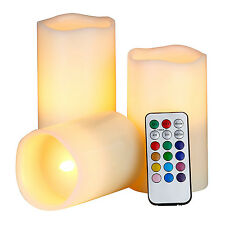 3 Real Wax Candles Flameless RGB Flickering LED with Remote Control Timer Mode