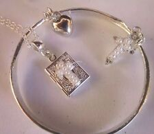 "Communion,christening/Pearl Cross BIBLE LOCKET/STERLING SIL 16""CHAIN/Bangle/bxd"
