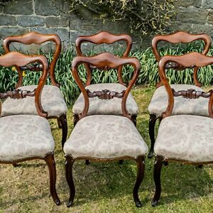 William IV Rosewood Kidney Balloon Set of 6 Back Dining Chairs C1835