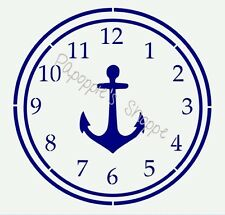 "Clock Stencil Nautical Design Anchor 10.5"" in diameter"