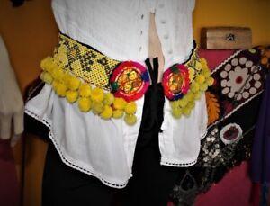 Gelber Tribal Perlengürtel mit Bommeln, Handarbeit, Vintage 79 cm, Boho, Hippie