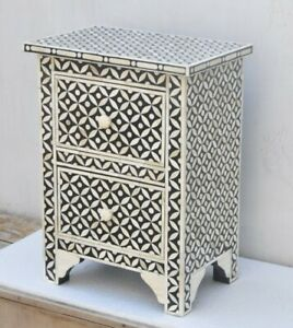 MADE TO ORDER Bone Inlay Indian Handicraft Bedside Cabinet Table Black Geometric