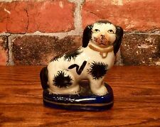 Staffordshire Black & White Spaniel Dog Miniature Porcelain Figurine