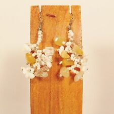 """1 1/2"""" Drop Style White Color Stone Chip Handmade Dangle Seed Bead Earring"""