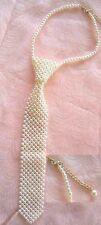Perlenschlips Perlenkrawatte crem Kette Schlips Krawatte Halsband Perlen NEU