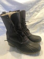"Shearling Lined 10"" LL Bean Boots Women's 8 Dark Brown Warm Waterproof EUC"