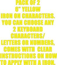 "Pack of 2 X 6"" Yellow Iron on Characters - Letters or Numbers Vinyl Printing"