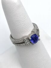 Platinum PT900 1.25CT Tanzanite& Diamond Engagment CARVED Ring Size 6.5