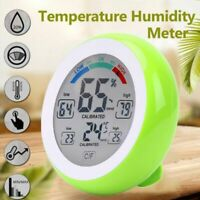 LCD Digital Thermometer Indoor Hygrometer Touch Screen Round Alarm Clock Me S4G1