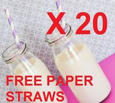 20 x 250ml Glass MINI MILK Bottles PARTY PACK WEDDING RECEPTION AND PAPER STRAWS