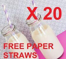 20 x 250ml Vetro Bottiglie di Latte Mini Party Pack ricevimento di nozze e Carta Cannucce