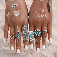 9PCS/Set Silver Punk Vintage Ring Womens Retro Geometry Finger Rings Boho Style