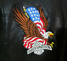 HARLEY DAVIDSON EMBROIDERED LEATHER JACKET S AWESOME