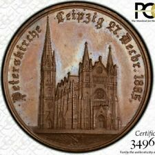 """""""FINEST & ONLY"""" @ NGC & PCGS SP63 1885 ST. PETERS LEIPZIG GERMANY MEDAL TONED"""