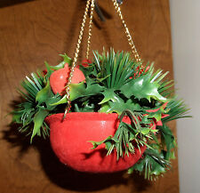 Vintage Christmas Hanging Pot Ornament Apples Holly Poinsettias~Goldtone 3 Chain