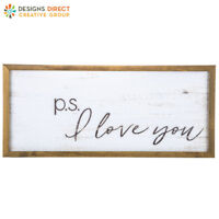 Modern Vintage P.S. I Love You Wood Wall Sign Shabby Chic Decor NEW