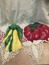 LARGE CERAMIC VEGETABLE WALL PLAQUE CORN and TOMATOES