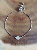 925 Sterling Silver Disc Adjustable Slider Bracelet