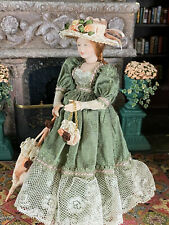 Vintage Mini Dollhouse Doll Artisan Porcelain Victorian Lady Olive Silk Gown