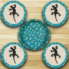 GECKO 100% Natural Braided Jute Coaster Set of 4 w/ Basket, Blue