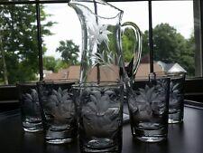 Antique  Cut Crystal Pitcher and 5 Glasses Beverage Lemonade  Set