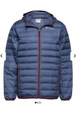 Men's Columbia Lake 22 Down Hooded XL NEW BLUE/RED Jacket RRP £125.00