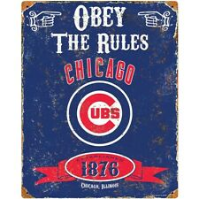 Chicago Cubs MLB Embossed Metal Vintage Pub Sign Man Cave Wall Decor