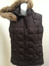 Gap S Vest Brown Quilted Puffer Hooded Faux Fur Trim
