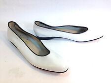 SALVATORE FERRAGAMO white leather black trim ITALIAN ballet loafers 6 AAA
