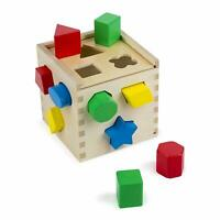 Melissa & Doug Shape Sorting Cube Classic Wooden Sorter Toy 12 Piece Playset