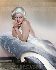 JEAN HARLOW ON LARGE BLUE CHAISE BEAUTIFUL COLOR PHOTO BY CHIP SPRINGER
