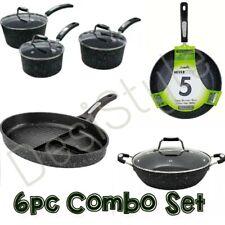 Scoville BLACK Coat 6PC SET Saucepan Wok Frying GRID Pan Shallow Casrol NONSTICK