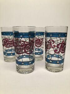 Vintage Pepsi Cola Tiffany Style Raised Stained Glass Etching Glasses Set Of (4)