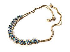 Bijou alliage doré collier double maille serpent cristal bleu necklace