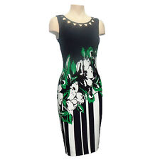 Joseph Ribkoff 172788 Women New Navy Green and White Sheath Dress Size 14 US NWT