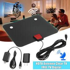 TV 50 Miles Range Flat FM HD Digital Indoor Amplified TV Antenna with Amplifier