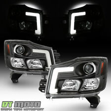 For 2004-2015 Titan 04-07 Armada LED Tube Projector Headlights Black Headlamps