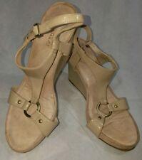 Aerosoles Sandals Beige Wedge Heel Nude Strap Buckle Gold Stud Womens Size 10