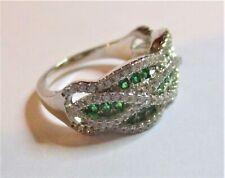 STERLING SILVER SPARKLING CUBIC ZIRCONIA WAVE RING SIZE  M   WITH GREEN STONES