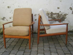 1 v 2 Lounge Chair France & Son Grete Jalk Teak / bezogen aufgemöbelt