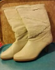Vintage 80s Lani Cream Pigskin Suede Boots Zigzag Accents Size 9 Sexy Sassy