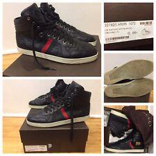 Men's Gucci GG Guccissima Leather Web High-top Sneaker, Nero (Black) Sz 9.5 G