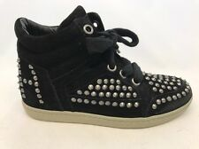ASH ZEST Suede Sneakers, Black w/ Silver Studs Euro Size 35M CLEARANCE, NWB $340