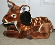 """NWT FAO Schwarz 18"""" Plush Spotted Lying Baby Deer Fawn Realistic New With Tags"""