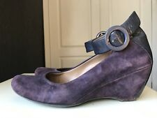 Clarks Softwear Ladies Women Court Heel Shoe Wedge Leather Purple Size 5 38