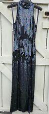 Vestido de noche Vintage Frank Usher Art Deco Iridiscente Sequinned Cóctel/10
