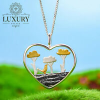 Natural Creative Handmade Solid 925 Sterling Silver Planting Trees Pendant